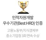 고용노동부/지식경제부 인적자원개발 우수기관(Best HRD) 인증 고용노동부/지식경제부 중소기업청 3회 연속 수상