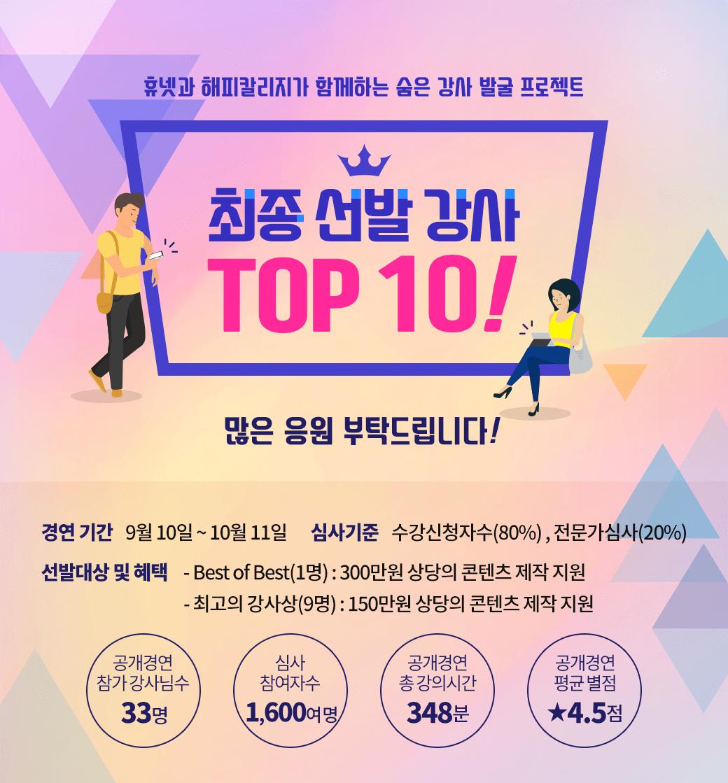 휴넷과 해피칼리지가 함께하는 숨은 강사 발굴 프로젝트, 최종 선발 강사 TOP10!
