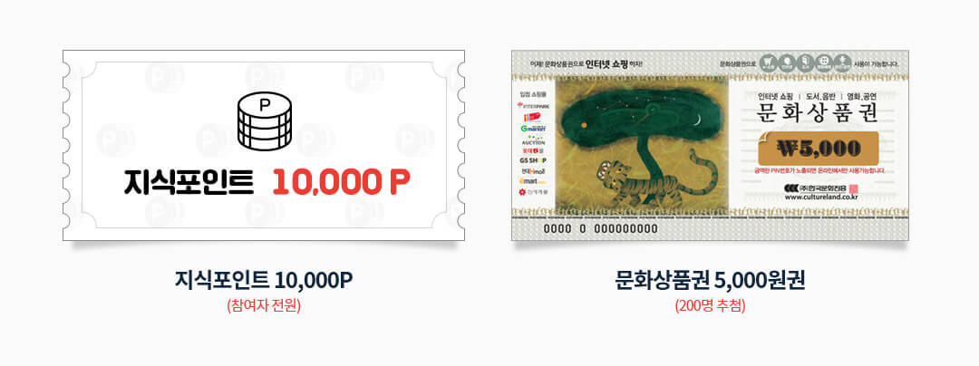 참여자 전원 지식포인트 10,000p, 200명 추첨 문화상품권 5,000원권